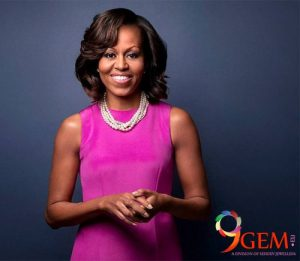 Michelle Obama Wearing Pearl Jewelry